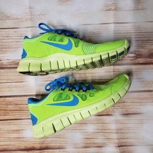 Nike Free 5.0 Blue Green 5Y Kids Running Shoes